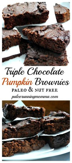Triple Chocolate Pumpkin Brownies - These flourless paleo brownies are an ooey gooey and super healthy treat for the holiday season or anytime! Paleo Brownies, Pumpkin Brownies, Paleo Dessert, Healthy Sweets, Gluten Free Desserts, Dessert Recipes, Healthy Food, Sweet Recipes, Real Food Recipes