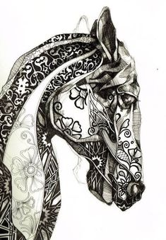 Image result for Black and White Horse Tattoos