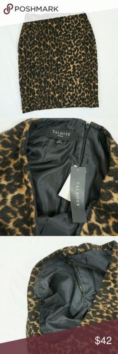 NWT |talbots| leopard cheatah printed pencil skirt Brand new with tags! Adorable leopard printed pencil skirt,  size 2! Talbots Skirts Pencil