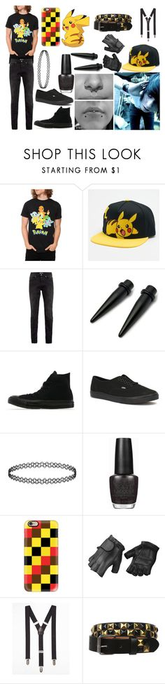 """Emo Boy Pikachu"" by abipatterson ❤ liked on Polyvore featuring Hot Topic, Topman, Converse, Vans, OPI, Casetify, Express, men's fashion and menswear"