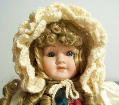 Handmade Crochet Vintage Style Baby Bonnet in by PaintedOnPlaques