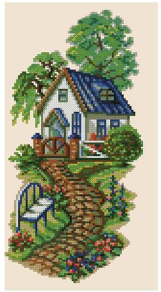 This Pin was discovered by Şen Cross Stitching, Cross Stitch Embroidery, Embroidery Patterns, Hand Embroidery, Funny Cross Stitch Patterns, Cross Stitch Charts, Cross Stitch Designs, Cross Stitch House, Cross Stitch Landscape