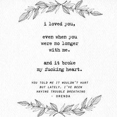 you told me it wouldn't hurt but lately, i've been having trouble breathing.@poetrybyorenda // IG: poetrybyorenda #poetry #quotes #life #love #writing #inspiration #poetrybyorenda 