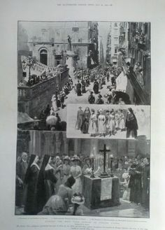 1901 PRINT GAINING THE HOLY YEAR JUBILEE IN ITALIAN CITIES by G AMATO