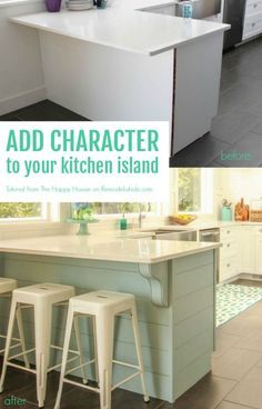 Add character to your kitchen island or peninsula by adding planks for shiplap texture and corbels for style. Easy DIY job that anyone can do! The Happy Housie on /Remodelaholic/ Kitchen Peninsula, Diy Kitchen Island, Kitchen Dining, Cabinet Island, New Kitchen Designs, Kitchen Ideas, Painting Cabinets, Updated Kitchen, Planks