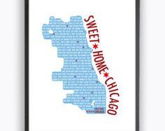 DIY Sweet Home Chicago Printable Wall Art, Digital Art, Print At Home, Chicago Flag Wall Art