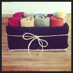 Kleenex box covered in fabric, repurposed washcloth holder