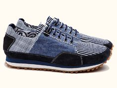 (2) Denim Running Shoe - Stripes Athletic Sneakers - Y.O.U (Your Own Universe) Italy Denim Running Sneakers  Topsiders Boat Shoes - Japanese Indigo and Recycled Jeans