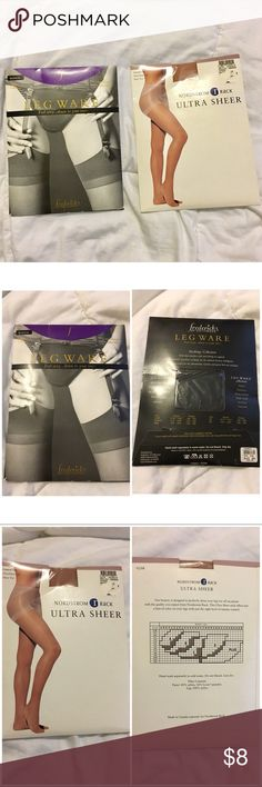 "3 for $18 NIP Nylons Pantyhose Stockings Hosiery 2 pairs New in Package  1-   Frederick's of Hollywood Leg Ware  Stockings Collection  Black Medium Height: 5'4""-5'8"" Weight 115-140  2- Nordstrom Rack Ultra Sheer Basic Beige size: B Control Top, ultra sheer Leg, sheer toe  Questions? Please ask prior to purchasing. Intimates & Sleepwear Shapewear"