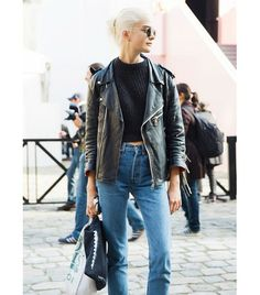 @Who What Wear -crop sweater, mom jeans/ high waisted jeans + leather jacket