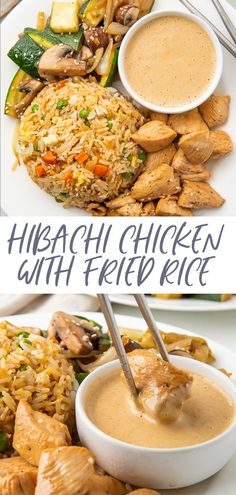 A hibachi chicken dinner at home! With restaurant-style sautéed veggies, fried rice, and super tender chicken, served with a spicy mustard dipping sauce.