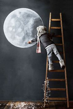 = chalkboard, ladder and fairy lights
