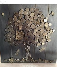 Money tree (good luck) - the most effective talisman of wealth in Chinese teaching Feng Shui. Decorate by this talisman the house and draw prosperity into your life! We used wooden base,tree trunk made of natural wood bark and to crown used these coins of Button Art, Button Crafts, Feng Shui, Coin Crafts, Wood Bark, Wood Wood, Pallet Wood, Diy Wood, Talisman