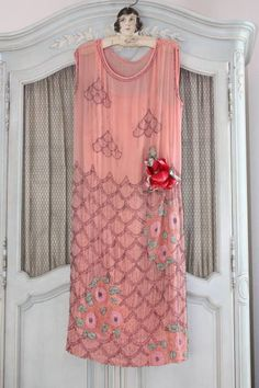 1920s Peach and Floral Beaded Silk Dress