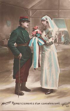 #French #postcard - Remerciements d'un convalescent  #war #military #nurse #art #history #LLFA Nurse Art, French School, Art History, Military, War, Prints, Painting, Painting Art, Paintings