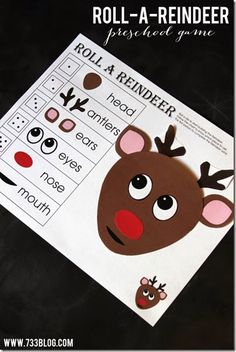 FREE Printable Christmas Game for Kids - roll a reindeer. This super cute Preschool Christmas Game will be a huge hit at part of your Christmas countdown.