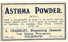 Asthma Powder Quack Medicine Label by thecollectiblechest on Etsy