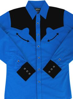 c840ad46da8fe ThisMen s Two Tone Royal Blue and Black Retro Piped Western Shirt is a  western classic throwback