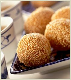 Dim sum + Chinese bakeries: Sesame balls. The Chinese equivalent to Japanese mochi. Covered in fragrant sesame seeds deep fried to a crisp and usu. filled with red bean (adzuki) or lotus paste