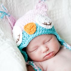 Pink Owl Hat Owl Baby Hat Newborn Girl Hat by QuiltedCupcake, $19.50 - Love this pic of a baby wearing one of my hats.