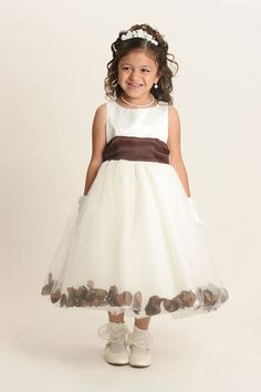 c09721e5dafd Flower Girl Dress Style 152-Choice of White or Ivory Dress with Chocolate  Brown Sash and Petals
