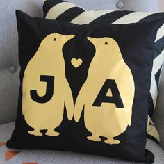 Personalised Black Gold Metallic Penguin Cushion