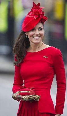 Lady in red: Kate Middleton