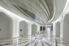 Exclusive light fixture made of Czech glass for Al Rufaa Celebration Hall Complex in Doha Crystal Light Fixture, Light Fixtures, Cut Glass, Glass Art, Vestibule, Architectural Features, Bespoke Design, Doha, Drops Design