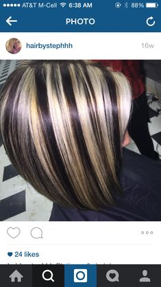 Dark brown with chunky blonde highlights