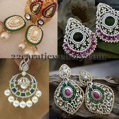 Jewellery Designs: Pearls Embellished Diamond Chandbalis