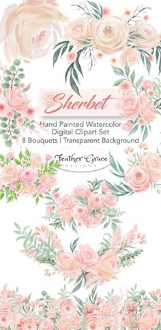 Watercolor Clip Art | DIY | Crafts |  - Soft pinks & romantic tones come together to create this stunning collections perfect for your next creative project! Feather Grace Designs on Etsy #clipart #watercolor #DIY #craft #pinkflowers