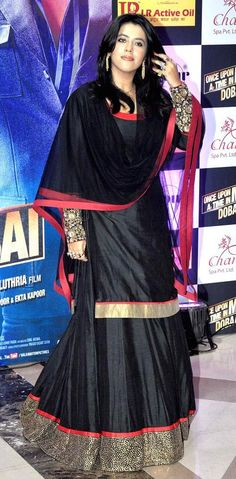 Ekta Kapoor in a black lehenga with full-sleeves blouse at her Iftar bash. #Bollywood #Fashion