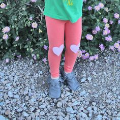 Pink Hearts (Kids) Coral Leggings $20 (why don't they make these for grown-ups?!)