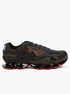 Adidas Originals x Raf Simons Men s Khaki Camouflage Bounce Sneakers  dfe1ad7df