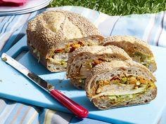 Ale-Brined Roasted-Turkey Sandwich with Red-Pepper Pesto Recipe : Guy Fieri : Food Network - FoodNetwork.com