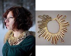 Michelle Pajak-Reynolds Serendipity Collection: Echoes  ​18k gold, silk, glass beads Price upon request​ Photo: Pat Jarrett​ (left), BCR Studios (right) #necklace #beads #oneofakind