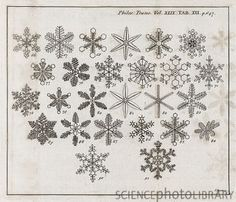 Snowflake research. 18th-century journal page showing snowflake configurations described in 1755 by John Nettis a physician from Middelburg, the Netherlands. Nettis used early forms of microscope lenses to make his observations. This page is from volume 49 (1755-6) of the journal 'Philosophical Transactions', published by the Royal Society of London.