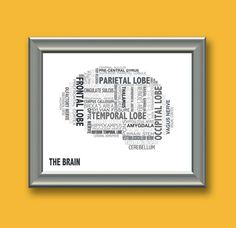 Anatomy of the Brain Typography by UrbanFootprintDesign on Etsy, $20.00