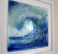 Fused Glass Wave made from clear glass with frits and enamels