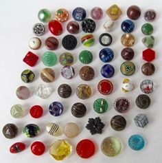 Assortment of 62 Different Diminutive and Small Glass Buttons