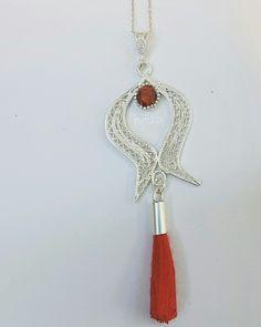 925 ayar gümüş telkari lale kolye. Silver filigran tulip necklase