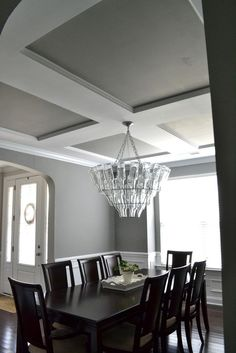 Ceiling trim with painted ceilings Sherwin Williams Gray Matters ~ nice medium gray ~ Dining Room Paint Colors, Wall Paint Colors, Dining Room Walls, Paint Colors For Home, Room Colors, Gray Dining Rooms, Gray Rooms, Shades Of Grey Paint, Gray Paint