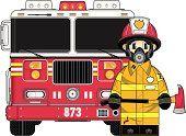 Linda bombero y camión de bomberos