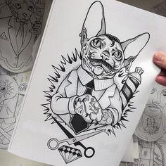 Cat Barber tattoo sketch