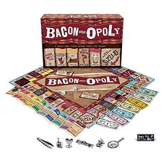 Funny Gift Ideas for Secret Santa Games Bacon-Opoly Secret Santa Game, Bacon Tattoo, Santa Games, Monopoly Game, Nerd, Funny Gags, Gag Gifts, Board Games, Game Boards