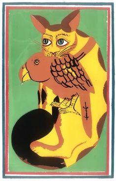 Kalighat painting. Cat eating a bird