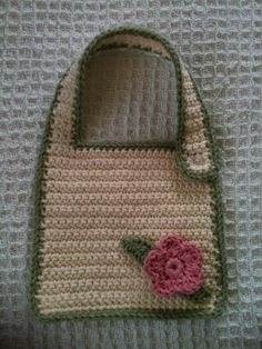 Crochet Infant Girls Floral Baby Bib