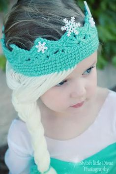 Elsa Frozen Disney Movie Tiara Crown crochet hat on etsy  www.OliCrafts.Etsy.com