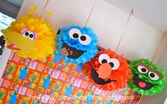 Sesame Street tissue paper pom poms. Adorable on so many levels!