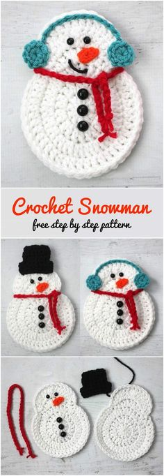 Today for you we have another cute and adorable snowman to crochet for your Christmas decorations. It's very easy because we have free and step by step explained pattern with pictures by Repeat Crafter Me. You can crochet different designs as you like w Crochet Christmas Decorations, Christmas Crochet Patterns, Holiday Crochet, Crochet Gifts, Diy Christmas Gifts, Christmas Projects, Kids Christmas, Christmas Snowman, Christmas Island